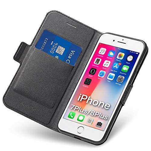 Hülle iPhone 7 Plus, iPhone 8 Plus Schutzhülle mit Kartenfach & Ständer, Phone 7 Plus Handyhülle, 8 Plus Tasche, Leder Etui Folio, Flip Cover Hülle, Komplettschutz Apple 7Plus/8Plus 5.5 Zoll. Schwarz