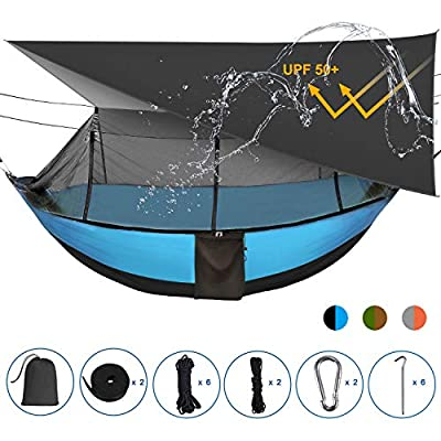 Sotech Lightweight Camping Hammock with Mosquito Net and Rainfly Cover (Sun Shelter UPF 50+), to 1-2 Persons(Adult/2 Kids), Max Load 660lbs (Blue)