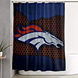 Team ProMark Denver Bron-cos Shower Curtain American Football Design Waterproof Fabric Shower Curtain Liner with 12 Hooks Modern Home Bathroom Decorations Machine Washable 59 x 70 inche
