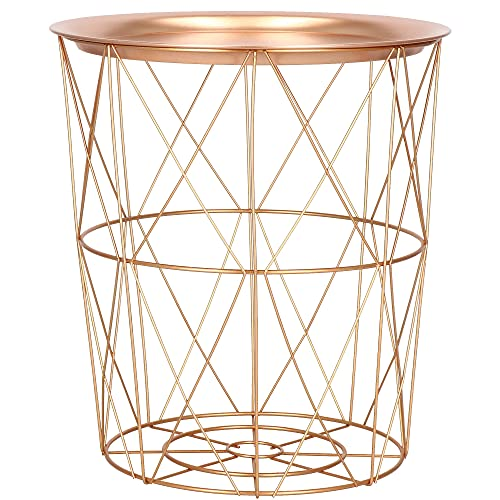 SPRINGOS Mesa auxiliar decorativa de metal, 45 x 40 cm (altura x anchura), mesa de metal perforada, industrial (35 x 30 cm, oro rosado rosa)