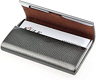 Cafeely Fashion Metal Leather Box Cover Credit Business Multi Card Case Wallet, Credit Card Holder Protector Stainless Steel Credit Card Wallet,For School,Trekking,Outdoor Sports,Work,D
