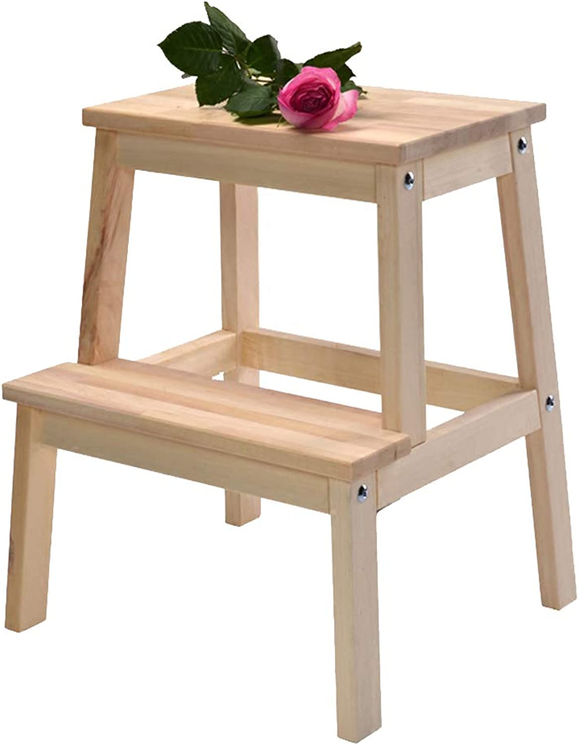PENGFEI 2-Step Stool Ladder Portable Change shoes Bench Ascend Pedal, 2 colors Furniture (color   Wood color)