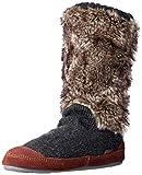 Acorn Women's Slouch Boot Slipper, Charcoal Fur, M