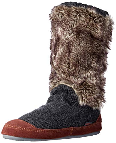 Acorn womens Slouch Boot Slipper, Charcoal Fur, 8-9 US