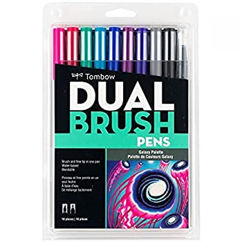 Tombow 56188 Dual Brush Pen Art Markers Galaxy 10-Pack Blendable Brush and Fine Tip Markers