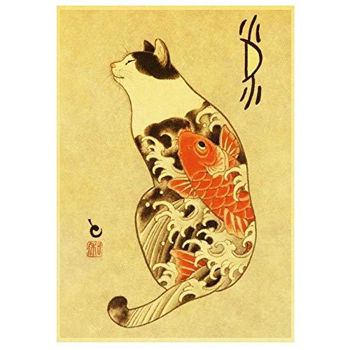 ZSHSCL Stampe su Canvas,Samurai Giapponese Carpa Tatuaggio Animale Gatto Nessuna Illustrazione Telaio Dipinto su Tela Stampe Poster Art Wall Foto Living Room Bedroom Home Decor @60X90Cm_No_Frame