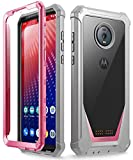 Moto Z4 Rugged Clear Case, Poetic Full-Body Hybrid Shockproof Bumper Cover, Built-in-Screen Protector, Guardian Series, Case for Motorola Moto Z4 (2019 Release), Pink/Clear