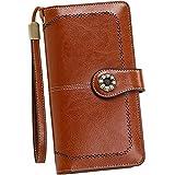 Pearl Angeli Billeteras Mujer RFID Protección Cartera de Cuero Real Señoras Tarjeta de crédito Grande Soporte para con Elegante diseño Ahuecado (Marrón)