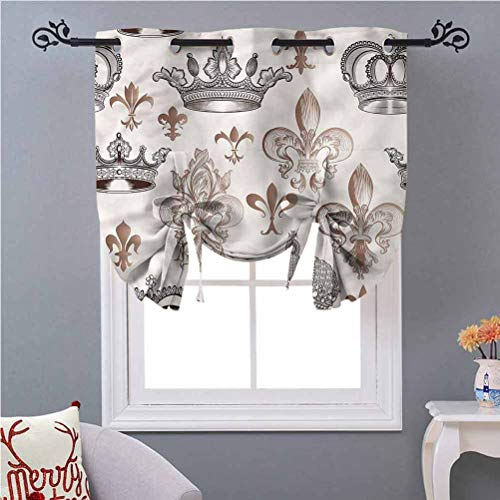 Aishare Store Kitchen Curtain Valance Fleur De Lis Crowns Lily Shapes W46 x L45 Inches Tie Up Shade Blind Bathroom Window
