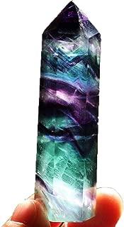 WensLTD Natural Hexagonal Crystal Quartz Healing Fluorite Wand Stone Purple Green Gem