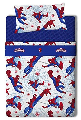 Marvel Spiderman Juego de sábanas, Algodón-Poliéster, Multicolor, Cama 100/110 (Doble), 200.0x105.0x25.0 cm, 3 Unidades