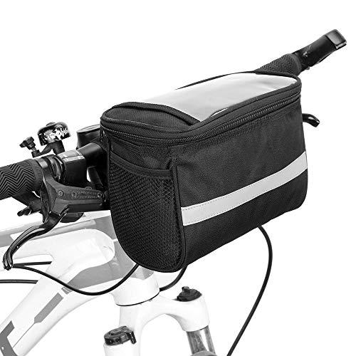 Z-Y Fietstas Waterbestendig berg Fietstassen Fiets Insulated Receptie Bag MTB fietsstuur mand Pannier koeltas met reflecterende strip #z (Color : Black)