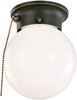 Design House 519264 1 Flush Globe Ceiling Light with Pull Chain, Oil Rubbed Bronze