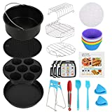 ATopoler 8 inch Air Fryer Accessories, 130-Piece Set with Recipe, Non-Stick Coating Compatible for Over 3.2 Litre Air Fryers, Philips, COSORI, Tower Airfryer, Deluxe Deep Fryer Accessories