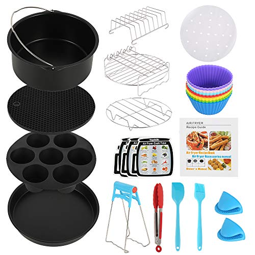An image of the ATopoler 8 inch Air Fryer Accessories, 130-Piece Set with Recipe, Non-Stick Coating Compatible for Over 3.2 Litre Air Fryers, Philips, COSORI, Tower Airfryer, Deluxe Deep Fryer Accessories