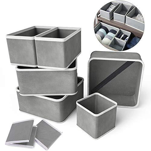 RenFox Organizador de Ropa Interior Plegable Cajas Organizador de Cajones Tela Organizador de Almacenamiento Armario para Calcetines Bufandas Sujetador, Gris 9 Cajas