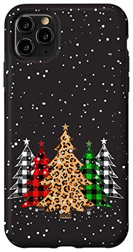 iPhone 11 Pro Max Christmas Trees with Plaid & Leopard Print Case