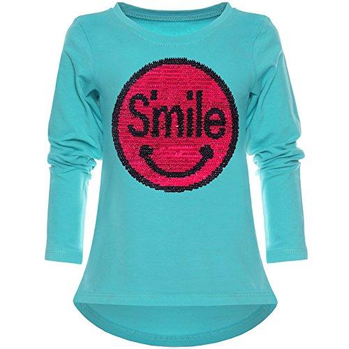 Kinder Mädchen Langarmshirt Wende-Pailletten Long Shirt Lächeln Motiv 21726 Grün Größe 164