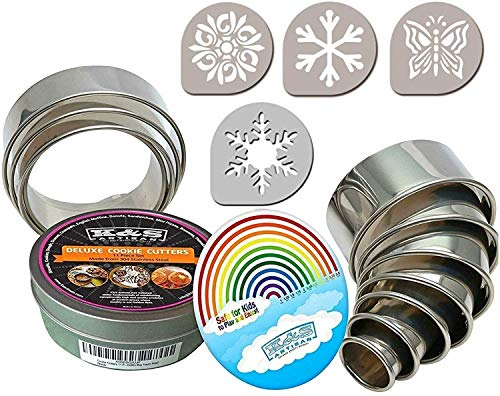 K&S Artisan Round Cookie Biscuit Cutter Set -11 Graduated Circle Circle Pastry Cutters for Donuts & Scone Heavy Duty Commercial Quality 100% Stainless Steel Metal Rings Baking molds with 4 Cookie Stencils
