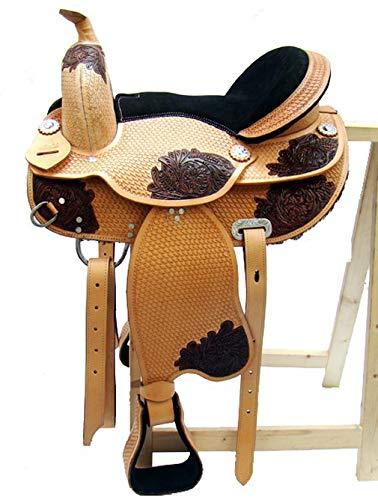 A&M Reitsport Baumloser Westernsattel Zuni ECO aus Büffelleder mit Klettkissen, Größe:16 Zoll