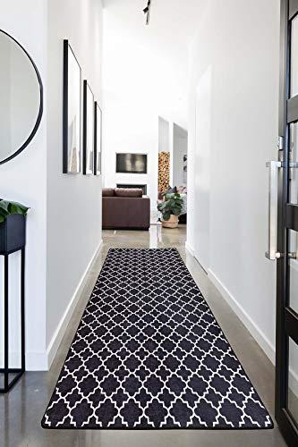 Miqna Alfombra de salón de pelo corto, moderna, geométrica, antideslizante, alfombra de...