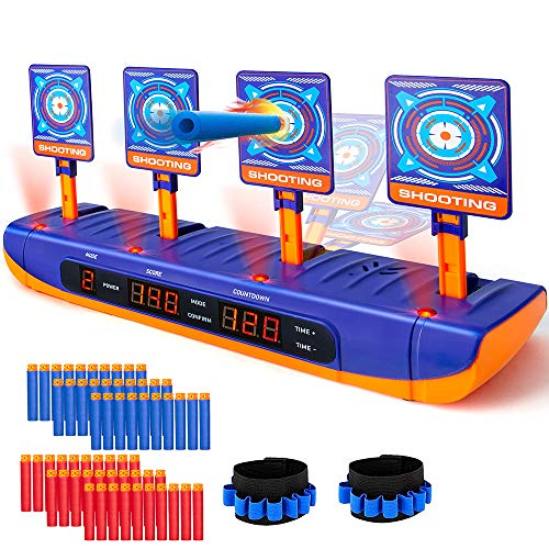 BananMelonBM 4 Modes Duel Electronic Shooting Target for Nerf Gun with 60 PCS Refill Bullet Soft Darts and 2 Hand Wrist Bands Digital Shooting Target with Auto Reset Auto Scoring Countdown Effect