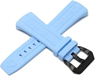 28MM Light Blue Silicone Watch Band Strap Black Stainless Buckle Fits 44mm Trimix Diver