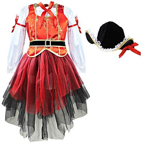 IEFIEL Costume Carnaval Déguisement Pirate 4pcs Ensemble Chapeau + Veste + Jupe + Ceinture Enfant Fille 2-10 A (6-7 Ans, Rouge)
