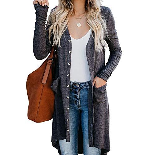 Señoras Cárdigans Abrir frente suéter de punto de manga larga chaqueta casual mujeres Tops chaqueta de punto Cardigan de manga larga señoras abrigo para regalos