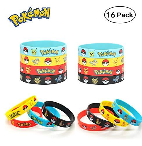 Funmo - Pokémon Silikon-Armband (16 Stück) Parteien für Erwachsene und Kinder