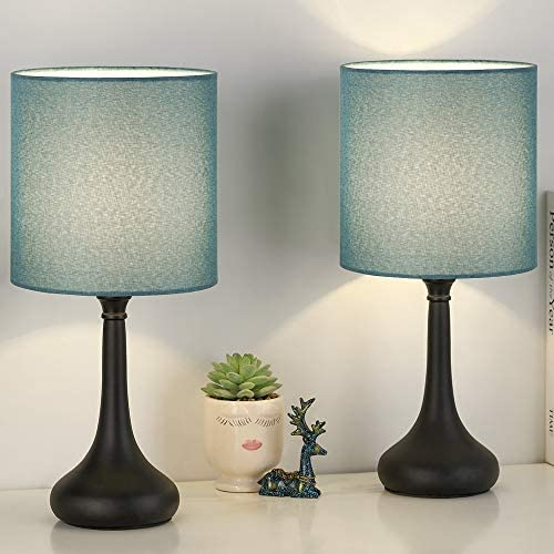 Bedside Table Lamp Set of 2 Small Nightstand Lamp with Blue Linen Lampshade Black Desk Lamps product image