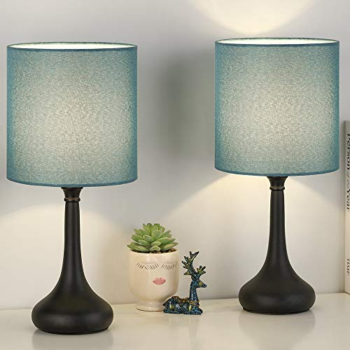 Bedside Table Lamp Set of 2, Small Nightstand Lamp with Blue Linen Lampshade?Black Desk Lamps for Bedroom, Living Room, Dorm Room, Office
