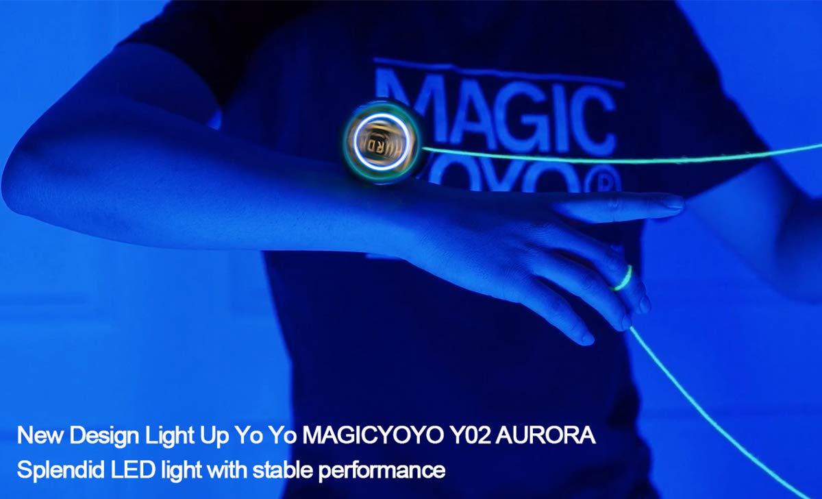 YOSTAR MAGICYOYO Profesional Ilumina Yoyo Y02, LED Light Up Yoyo no responde, Recomendado para Jugadores avanzados con luz Azul + 5 Cuerdas + Bolsa + Guante (Negro con luz Azul): Amazon.es: Juguetes y juegos