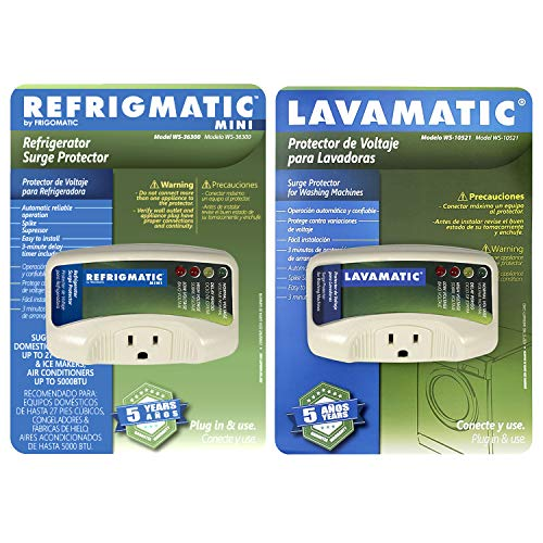 Two Electronic Surge Protector Combo Refrigmatic for Refrigerators and Lavamatic for Washing Machines