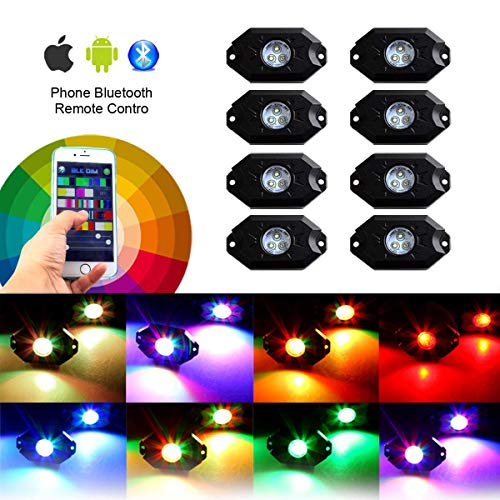8 pc RGB LED Rock Lights Multicolor Neon LED Light Kit w/Bluetooth Controller, Timing, Flashing, Music Mode for Underglow Off Road Truck SUV - 8 Pods
