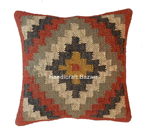 Indian 5 PCs Handmade Square 18' Kilim Pillow Cover, Vintage Square Cushion, Handwoven Pillow Case, Ethnic Pillow Cover 18 X 18, Indian Jute Cushions, Decorative Pillow Sham, Kelim Rug Cushion Cover,