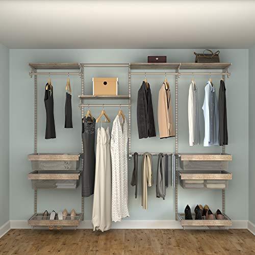 Closet Culture by Knape & Vogt Culture Closet Organization System with 6 Driftwood Wood Shelves, 8 feet