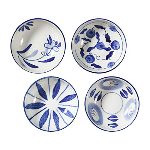 Beautyflier Set of 4 Ceramic Sauce Dish Soy Sauce Dipping Bowls Appetizer Plates Side Dishes Serving Dish Japanese Style Dinnerware Set (Floral pattern)