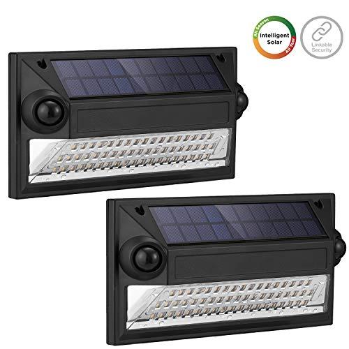 Westinghouse Linkable Solar Motion Sensor Lights Outdoor, Dual Sensors Premium 55 LED 1200 Lumens Security Flood Light, Wireless Intelligent 120° Wider Wall Lights for Fence Patio Garden Yard (2 pk)