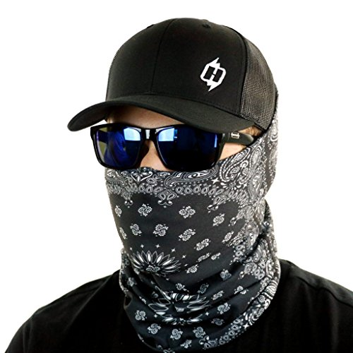 Paisley Bandana & Neck Gaiter Combo - Wear As A Headband, Scarf, Or Neck Cover (Black)