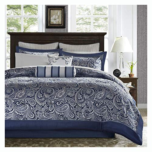 Comforter and Set, King Size 12-Piece Reversible Cotton Comforter Set in Navy Blue and White