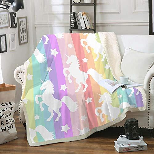 Merryword Stripes Unicorn Blanket Colorful Stars Throw Blanket Colorful Stripes Stars Unicorn Printed Soft Sherpa Fleece Blanket Boys Girls Blanket for Bedroom Couch Sofa (Twin (60'x80'), Unicorn 2)