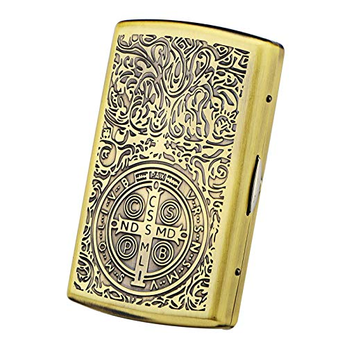 TYUIOO Cigarette Case, Cigarette Box, Copper Retro Cigarette Case Portable Cigarette Case Men's Ultra-Thin Personality Cigarette Holder Gift Box, 20 Large Double Bed, More Patterns Good Mood, Good Lif