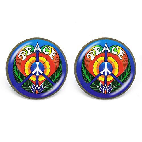 Nuevos encantos de la paz, pendientes de tuerca para playa, verano, retro, vintage, flor de poder, joyería de paz para mujeres y niñas