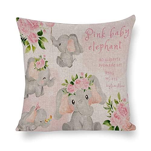 Funda de almohada de bebé elefante rosa acuarela elefante bebé niña algodón y cáñamo citas familiares rústicas funda de almohada regalo para cumpleaños, Navidad, aniversario