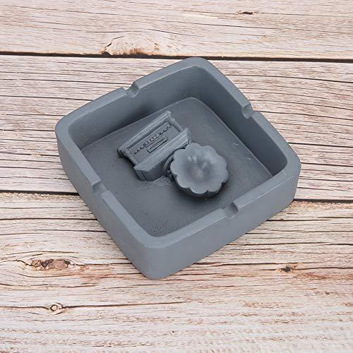 Cenicero de resina con forma de fonógrafo conveniente para usar, como un buen regalo para el día del padre(gray)
