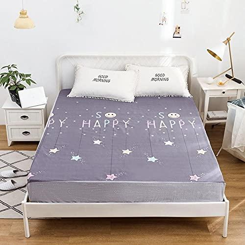 HPPSLT Protector de colchón con borde tensor, también para camas con somier y camas de agua, sábana impermeable con impresión de algodón, 17 x 180 x 200 cm