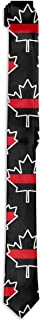 Men`s Thin Red Line Canada Pattern Novelty Necktie Business Skinny Tie For Wedding Prom Party