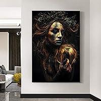 """ノースウォールアートブラックとゴールドのタトゥー女性キャンバス絵画ポスターとプリント写真リビングルームの家の装飾15.7"""" x23.6""""(40x60cm)フレームレス"""