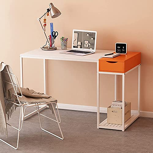 MASACORO Computer Desk with Drawers 40 inch Home Office Writing Study Desk Storage Shelves, Modern Simple Style Laptop Table with Secret Organizer White & Orange